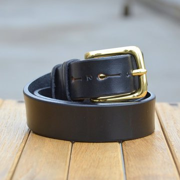 JABEZ CLIFF(ジャベツ・クリフ) STIRRUP LEATHER BELT 28mm(スティラップレザーベルト) -BLACK-【S】
