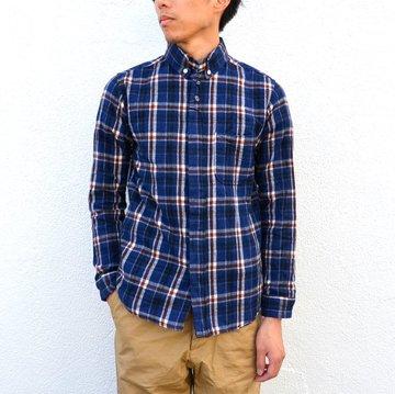 nisica(ニシカ)/コットンフランネルB.Dシャツ-NAVY×RED- #nis-754