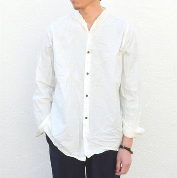 【17 SS】 Honor gathering(オナーギャザリング) Classic stand collar shirt -off whitel- #17SS-S01