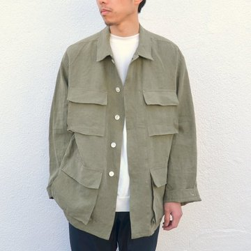 AURALEE(オーラリー)/ WASHED LINEN BIG FATIGUE JACKET -OLIVE GREEN- #A7SJ01LP