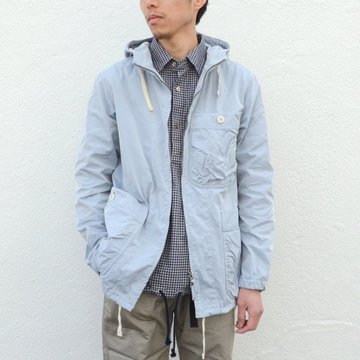 【17 SS】ts(s) (ティーエスエス) High Count Polyester Oxford Cloth Gathered Round Pocket Zip-up Parka -(25)Gray Blue- #TT36BJ01