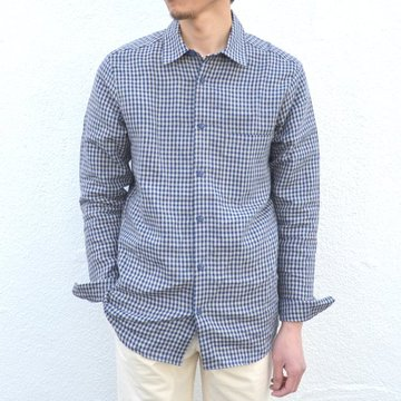 【2017 SS】FRANK LEDER(フランクリーダー)/ BLUE/BEIGE DOGTOOTH LINEN SHIRT -(35/83)BLUE/BEIGE- #0916076