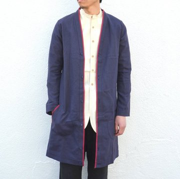 【30% off sale】FRANK LEDER(フランクリーダー)/ ORGANIC GERMAN LINEN LONG CARDIGAN -(39)NAVY- #0827126