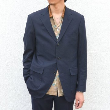 KENNETH FIELD (ケネスフィールド) 60s SPORTS COAT ITALIAN SUCKER -NAVY- #17SS-74