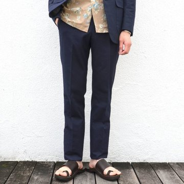KENNETH FIELD (ケネスフィールド)  TRIM TROUSER ITALIAN SUCKER -NAVY- #17SS-40