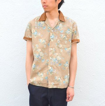 KENNETH FIELD (ケネスフィールド) SHORT SLEEVE OPEN COLLAR SHIRT FLOWER WITH CLERIC -BEIGE- #17SS-30
