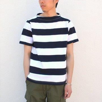 nisica(ニシカ)/ ガンジーネックカットソー-ホワイト×ネイビー- NIS-780