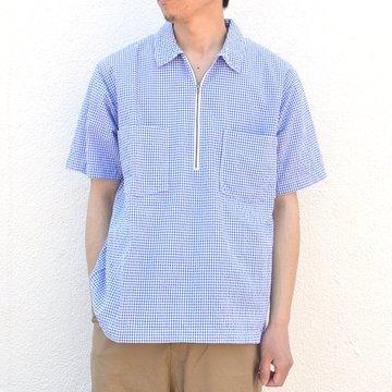 ohh!nisica(オオニシカ)/ ハーフジッププルオーバーシャツ -ブルーギンガムチェック- #ONI-040