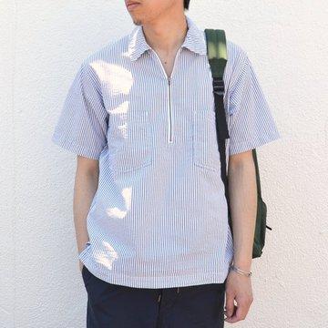ohh!nisica(オオニシカ)/ ハーフジッププルオーバーシャツ -ネイビーストライプ- #ONI-040