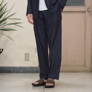 【2017 SS】TAKAHIRO MIYASHITA The SoloIst.(タカヒロミヤシタ ザ ソロイスト) crossover front pajama pants.  -NAVY/WHITE- #swp0001bSS17
