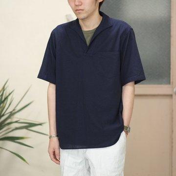 【2017 SS】COMOLI (コモリ)  ベタシャンスキッパー半袖シャツ -NAVY- #K01-02013