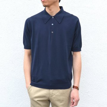 JOHN SMEDLEY(ジョン・スメドレー)/ MENS SHIRT SS -NAVY- #ISIS