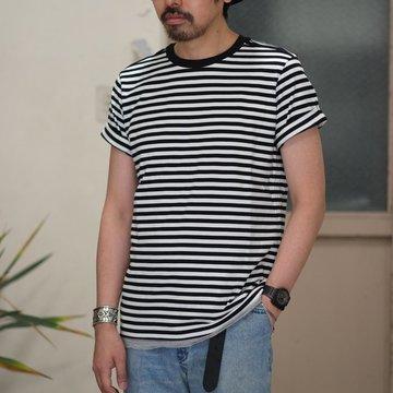 【2017 SS】TAKAHIRO MIYASHITA The SoloIst.(タカヒロミヤシタ ザ ソロイスト) roll up crew neck tee. -BLACK/WHITE- #sws0026SS17