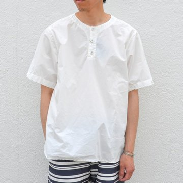 【17 SS】  Wardrobe(ワードローブ) OVERDYED HENLEY PULLOVER -WHITE- #WR1771104