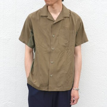 【17 SS】  White Mountaineering(ホワイトマウンテニアリング) OPEN COLLAR SHORT SLEEVES SHIRT -KHAKI- #WM1771111