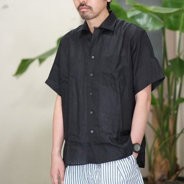 INDIVIDUALIZED SHIRTS(インディビジュアライズドシャツ)/ Linen Open Collar Shirt (AthleticFit) -BLACK- #IS-71363