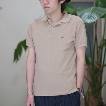 SCYE BASICS(サイベーシック) 40/1鹿の子ワンポイントポロシャツ -(42)BEIGE-