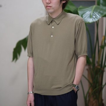 【2017 SS】AURALEE(オーラリー)/  SUPERFINE HIGH GAUGE BIG KNIT POLO -KHAKI- #A7SP02SG