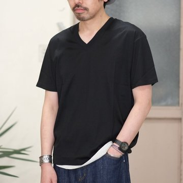 【2017 SS】7 × 7 / seven by seven ( セブン バイ セブン ) V-NECK T-SHIRT  - BLACK -  #SS2017-7x7VTS