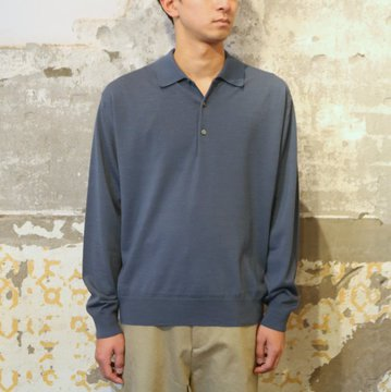 【17 AW】 AURALEE(オーラリー)/ WOOL CASHMER HIGH GAUGE KNIT -BLUE- A7AP02HG