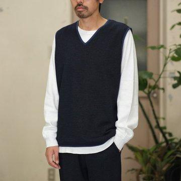 【2017 AW】NEEDLES (ニードルス) Pipng Vest [W/R/Pe Kersey Jacquard] -NAVY- #BG079