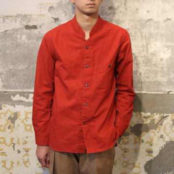 Honor gathering(オナーギャザリング) crispy horse cloth napoleon collar shirt -pompei red- #17AW-S02