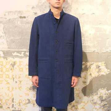 Honor gathering(オナーギャザリング) blanket finish cotton ratine stand collar coat -mix blue-