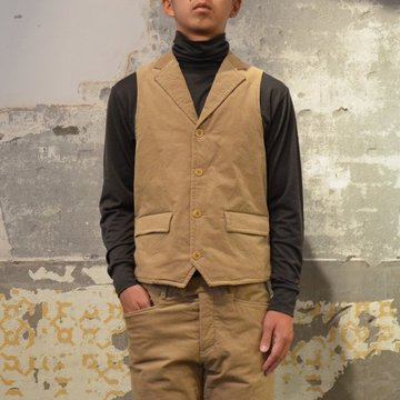 ts(s) (ティーエスエス) Thin Wale Stretch Corduroy Cloth Padded Suit Vest -(59)Khaki- #ST37IV01
