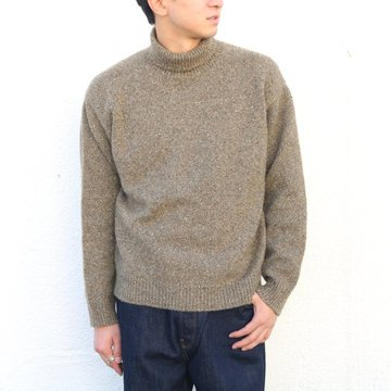 【17 AW】AURALEE(オーラリー)/ NEP CASHMERE KNIT TURTLE NECK P/O -MIX OLIVE- A7AP02NC