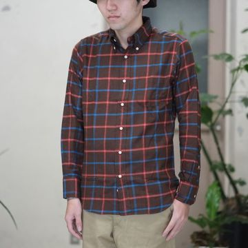 INDIVIDUALIZED SHIRTS(インディビジュアライズドシャツ)/Flannel Check B.D. Shirt (Standard Fit) -BROWN CHECK-