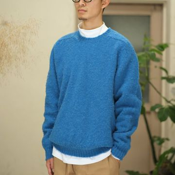 【2017 AW】South2 West8(サウスツーウエストエイト)  Relax Fit Shaggy Dog Crew Sweater -Royal- #BG837
