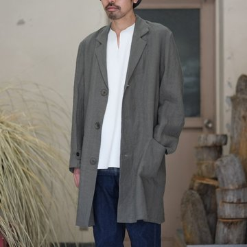 【2018 SS】FRANK LEDER(フランク リーダー) BELGIAN LINEN COAT -GRAY-  #0211029
