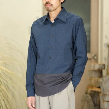 【2018 SS】FRANK LEDER(フランク リーダー) TRIPLE WASHED THIN COTTON 2 COLOR SHIRT -BLUE/NAVY-  #0216018