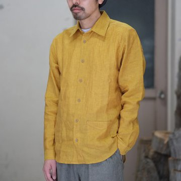 【2018 SS】FRANK LEDER(フランク リーダー) SUN LINEN SHIRT WITH SITCH POCKET -YELLOW-  #0216052