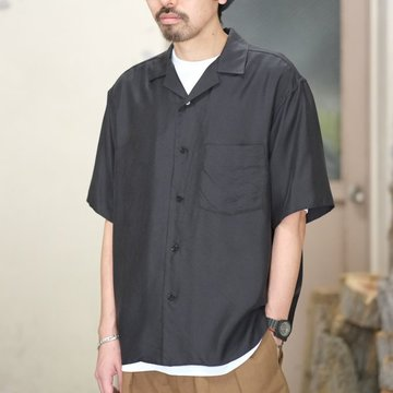 Graphpaper(グラフペーパー) / CUPRA OPEN NECKED SHIRT -BLACK- GM181-50039