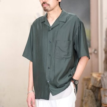 Graphpaper(グラフペーパー) / CUPRA OPEN NECKED SHIRT -GREEN- GM181-50039
