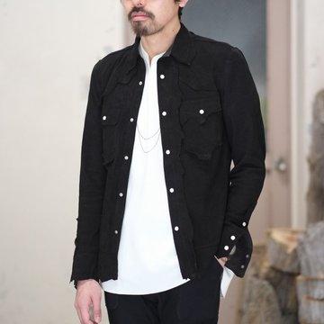【2018 SS】TAKAHIRO MIYASHITA The SoloIst.(タカヒロミヤシタ ザ ソロイスト) rough out shirt w/embroidery. -black-