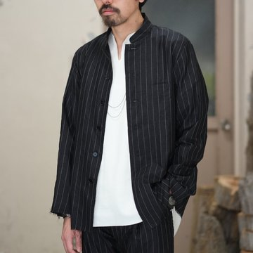 【2018 SS】TAKAHIRO MIYASHITA The SoloIst.(タカヒロミヤシタ ザ ソロイスト) nehru collar pajama shirt. -BLACK/WHITE- #swj0010BSS18