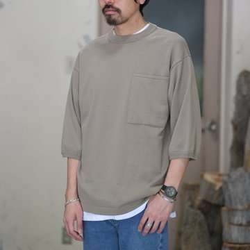 【2018 SS】crepuscule(クレプスキュール) POCKET KNIT TEE 3/4   -Gray Beige- #1801-006