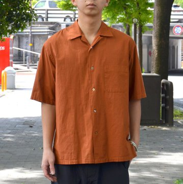 【2018 SS】 MARKAWARE(マーカウェア)/ OPEN COLLAR SHIRTS S/S -BROWN- A18A-12SH01B