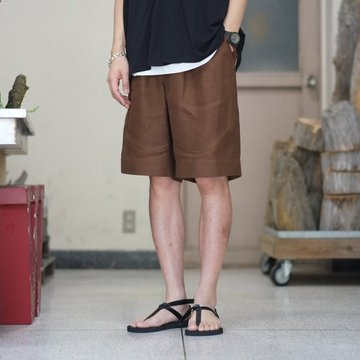 【2018 SS】 AURALEE(オーラリー) LINEN GABARDINE EASY SHORTS -BROWN- #A8SP04LG 【S】