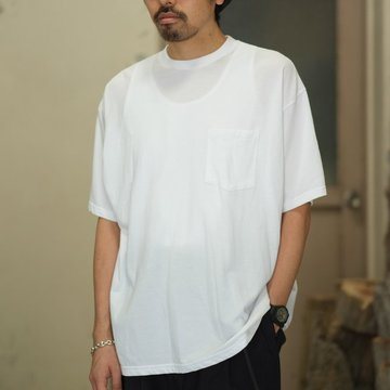 Graphpaper(グラフペーパー)  80/- Hi-Twisted S/S Pocket Tee -WHITE- #GU181-70067B
