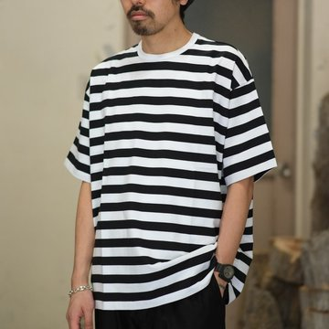Graphpaper(グラフペーパー)  Original Border S/S Tee  -WHITE/BLACK- #GM181-70059B