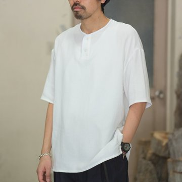 Graphpaper(グラフペーパー)  Towelcloth Henley Neck Shirt  -WHITE- #GM181-50055