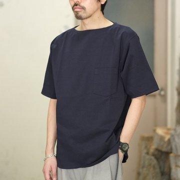 【2018 SS】COMOLI (コモリ) ボートネック半袖シャツ -NAVY- #M01-05006
