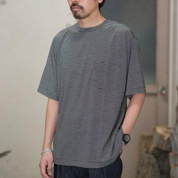 【2018 SS】COMOLI (コモリ) ウール天竺 半袖クルー -BORDER- #M01-05009