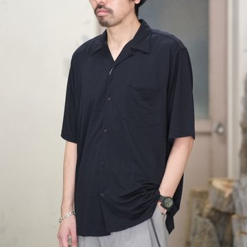 【2018 SS】COMOLI (コモリ) ウール天竺 半袖シャツ -NAVY- #M01-05010
