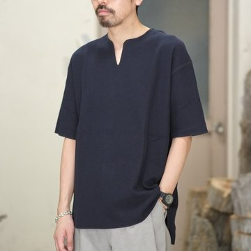 blurhms(ブラームス) / Rough&Smooth Thermal Loose Fit Over Neck  -Black Navy-  BHS-RKSS17018