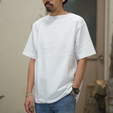 blurhms(ブラームス) / Heavyweight & Soft Loose fit Boat Neck Tee  -White-  BHS-RKSS18002