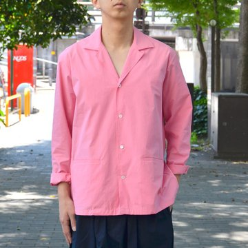 STUDIO NICHOLSON(スタジオニコルソン)/ OPEN COLLAR BOX SHIRT -SUGAR PINK- SN-255